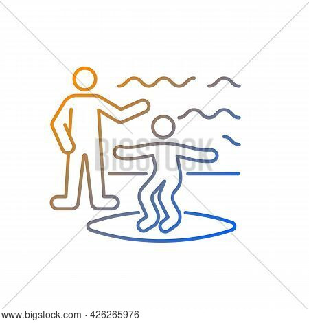 Surfing Lessons Gradient Linear Vector Icon. Take Surf Classes From Experienced Surfer. Surfing Etiq