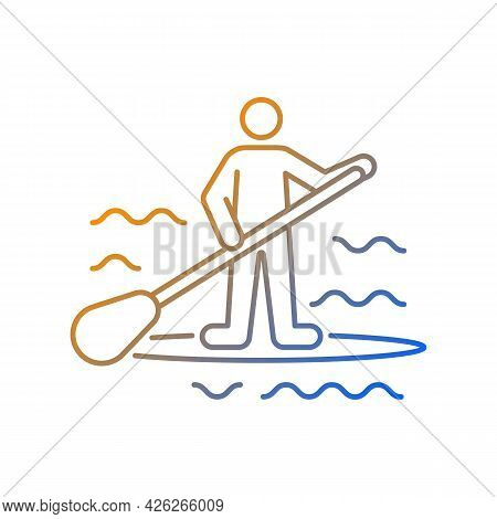 Paddle Board Surfing Gradient Linear Vector Icon. Sup Surfing. Upper Body Training. Require Balance,