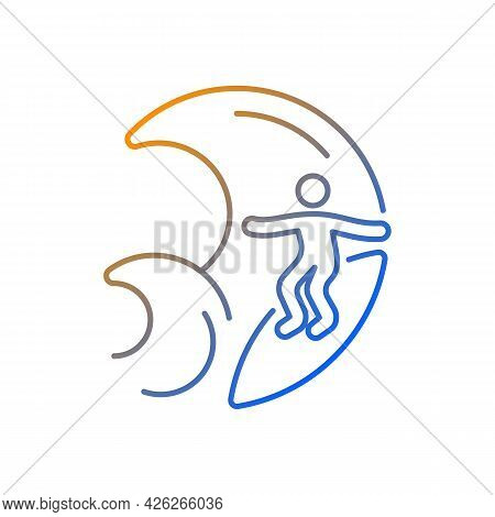 Big Wave Surfing Gradient Linear Vector Icon. Discipline For Experienced Surfers. Surf Zone. Water S