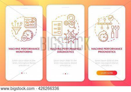 Digital Twin Tasks Onboarding Mobile App Page Screen. Machine Prognostics Walkthrough 3 Steps Graphi