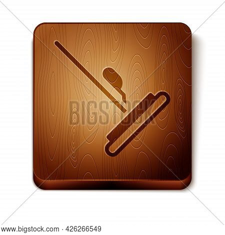 Brown Mop Icon Isolated On White Background. Cleaning Service Concept. Wooden Square Button. Vector