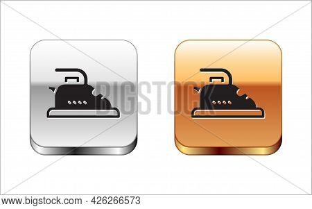 Black Electric Iron Icon Isolated On White Background. Steam Iron. Silver-gold Square Button. Vector