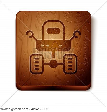 Brown Mars Rover Icon Isolated On White Background. Space Rover. Moonwalker Sign. Apparatus For Stud