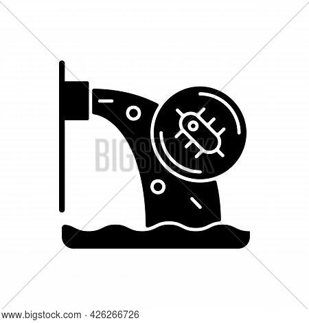 Water Pollution Black Glyph Icon. Water Resources Contamination. Toxic Chemicals Presence In Groundw