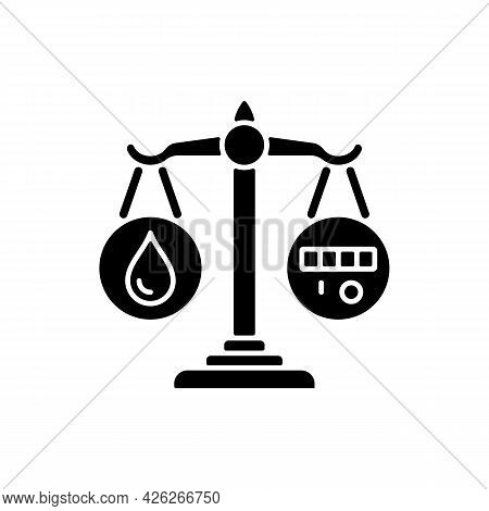 Rational Water Consumption Black Glyph Icon. Promoting Water Conservation. Reuse And Recycling. Resp