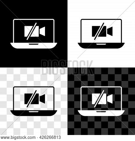 Set Video Camera Off On Laptop Screen Icon Isolated On Black And White, Transparent Background. No V