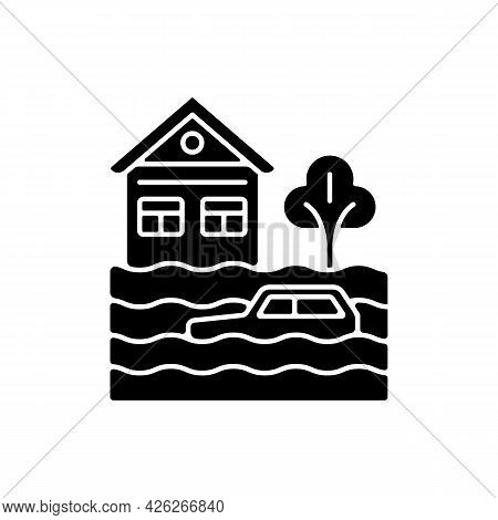 Floods Black Glyph Icon. Water-related Disaster. Negative Impacts On Environment. Life And Property