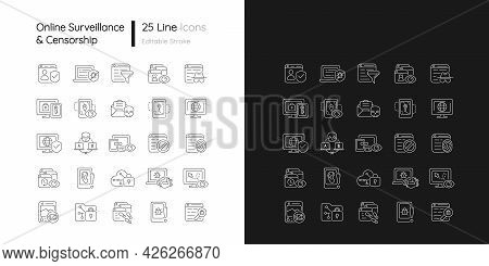 Online Surveillance And Censorship Linear Icons Set For Dark And Light Mode. Targeting Advertisement
