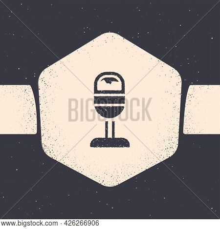 Grunge Trash Can Icon Isolated On Grey Background. Garbage Bin Sign. Recycle Basket Icon. Office Tra