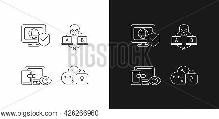 Internet Privacy Linear Icons Set For Dark And Light Mode. Network Security. Sniffing Attack. Cross-