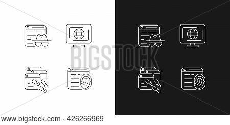Online Censorship Linear Icons Set For Dark And Light Mode. Private Browsing. Browser Fingerprinting