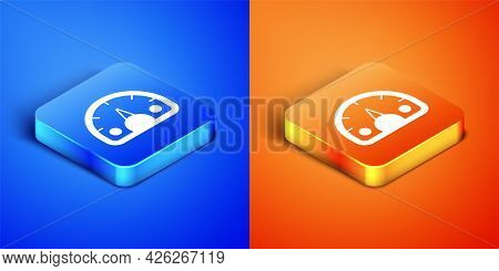Isometric Speedometer Icon Isolated On Blue And Orange Background. Square Button. Vector