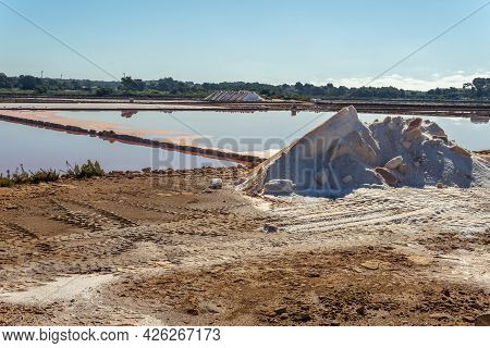 Traditional Salt Factory Located In The Majorcan Town Of Colonia De Sant Jordi At Sunrise