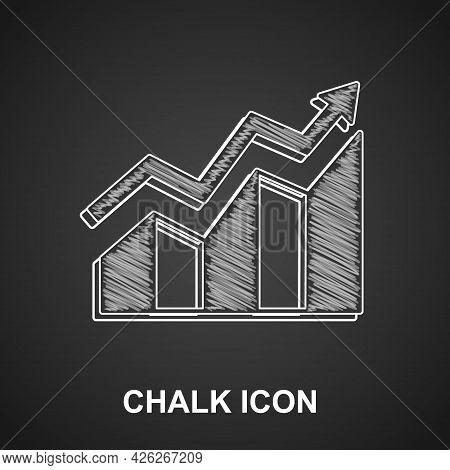 Chalk Financial Growth Increase Icon Isolated On Black Background. Increasing Revenue. Vector
