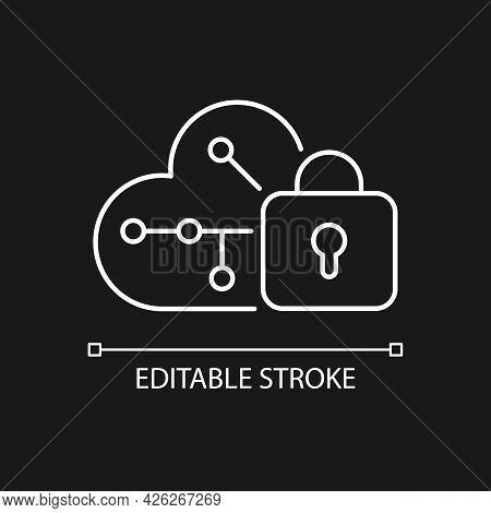 Cloud Encryption White Linear Icon For Dark Theme. Transforming Data Using Encryption Algorithms. Th