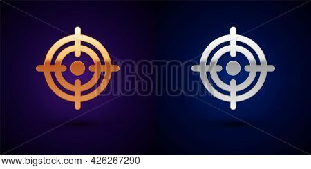 Gold And Silver Target Financial Goal Concept Icon Isolated On Black Background. Symbolic Goals Achi