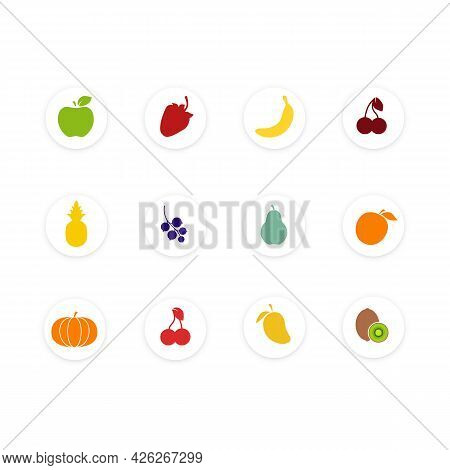 Set Of Fruit. Healthy Food Collection. Flat Style Illustration. Icons Of Different Fruit And Berries