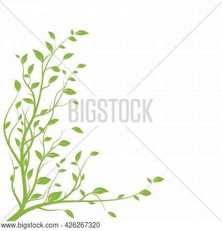 Green Tree Branch. Branch Silhouette Isolated On White Background With A Lot Of Leaves. Vector Illus