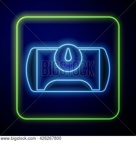 Glowing Neon Gas Tank For Vehicle Icon Isolated On Blue Background. Gas Tanks Are Installed In A Car
