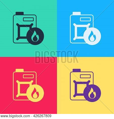 Pop Art Canister For Motor Machine Oil Icon Isolated On Color Background. Oil Gallon. Oil Change Ser