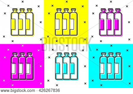 Set Industrial Gas Cylinder Tank For All Inert And Mixed Inert Gases Icon Isolated On Color Backgrou
