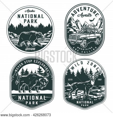 Summer Adventure And National Park Badges In Vintage Monochrome Style With Deer Bear Bison And Trave