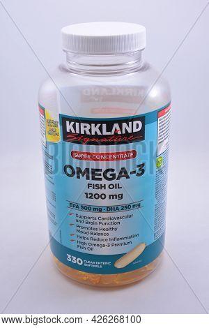 Manila, Ph - July 9 - Kirkland Omega 3 Fish Oil Softgels On July 9, 2021 In Manila, Philippines.