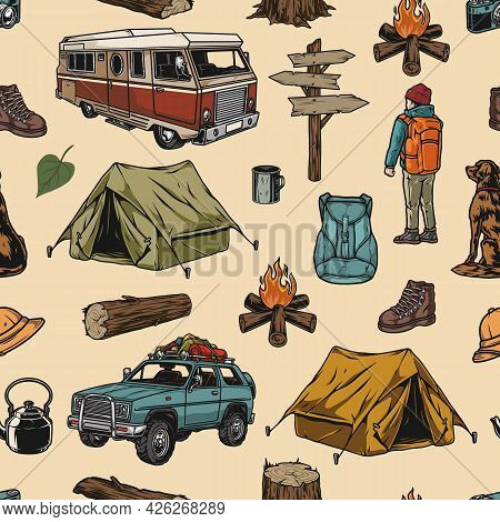 Camping Colorful Vintage Seamless Pattern With Travel Bus And Car Wooden Stump Log Tent Campfire Sig