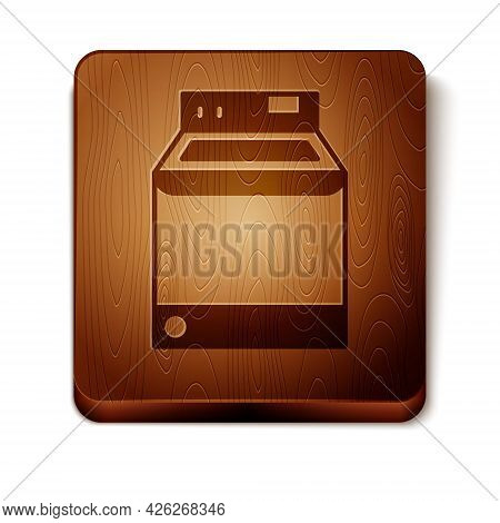 Brown Washer Icon Isolated On White Background. Washing Machine Icon. Clothes Washer - Laundry Machi