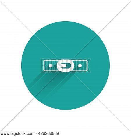 White Leather Belt With Buttoned Steel Buckle Icon Isolated With Long Shadow Background. Green Circl