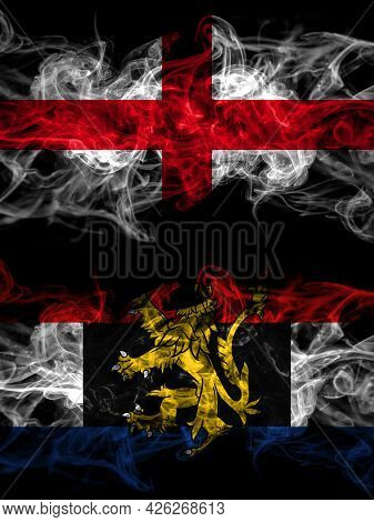 Flag Of England, English And Benelux Countries With Smoky Effect