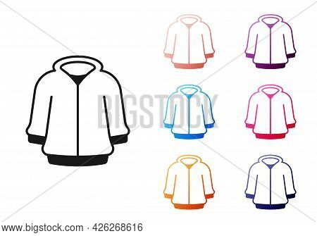 Black Hoodie Icon Isolated On White Background. Hooded Sweatshirt. Set Icons Colorful. Vector