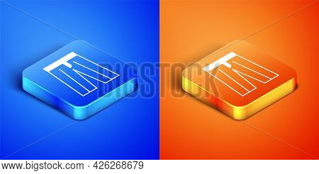 Isometric Pants Icon Isolated On Blue And Orange Background. Trousers Sign. Square Button. Vector
