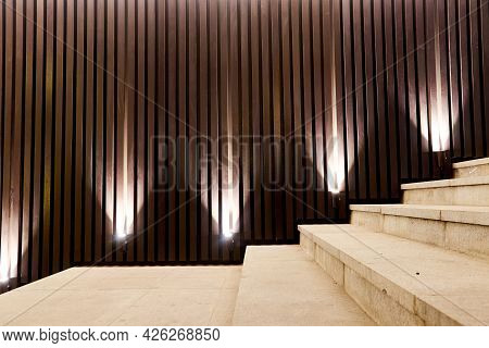 Number Of Spot Lamps For Night Illumination Of Decorative Slats Of The Stairs