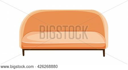 Sofa. A Soft Home Sofa In A Modern Style. Vector Graphics In Flat Cartoon Style.