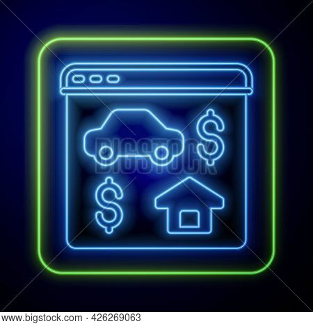 Glowing Neon Online Real Estate House In Browser Icon Isolated On Blue Background. Home Loan Concept