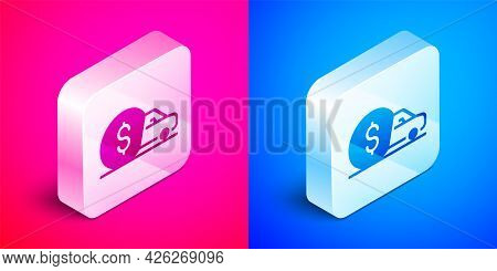 Isometric Car Rental Icon Isolated On Pink And Blue Background. Rent A Car Sign. Key With Car. Conce