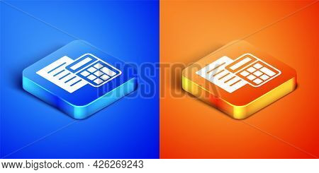 Isometric Calculator Icon Isolated On Blue And Orange Background. Accounting Symbol. Business Calcul