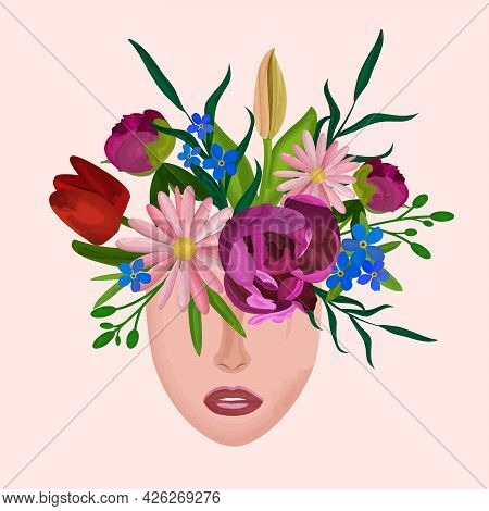 Different Flowers Peony Tulips Gerbera Forget-me-not And Some Leafs Growing Form Woman's Head In Wat