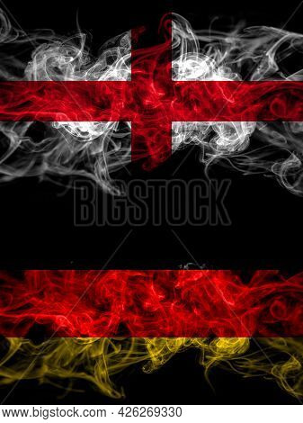 Flag Of England, English And Germany, German, Deutschland Countries With Smoky Effect