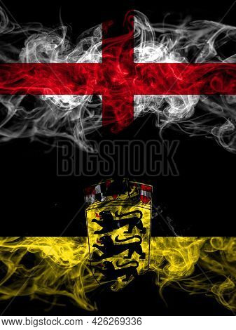 Flag Of England, English And Germany, German, Deutschland, Baden Wurttemberg Countries With Smoky Ef
