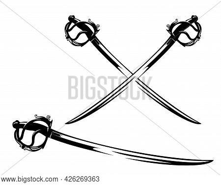 Antique Sabre Sword Vector Design - Crossed Backsword Blades And Black And White Outline Set