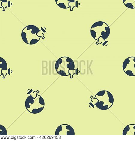 Blue World News Icon Isolated Seamless Pattern On Yellow Background. Breaking News, World News Tv. V