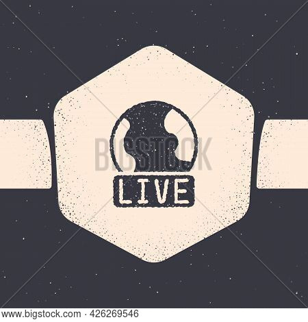 Grunge Live Report Icon Isolated On Grey Background. Live News, Hot News. Monochrome Vintage Drawing