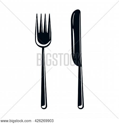 Cutlery Fork And Knife. Cutlery Silhouette Icon. Cookware Concept. Vector Graphics Isolated On White