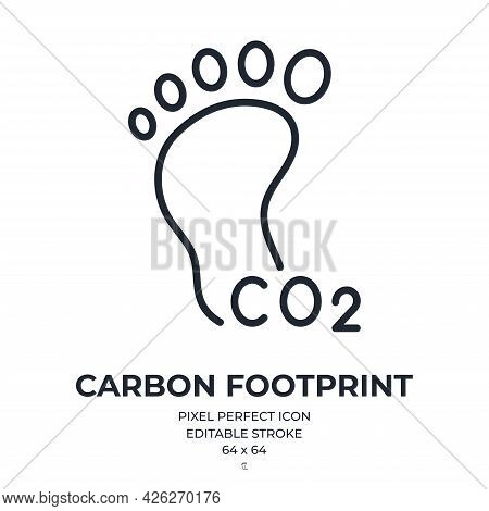 Carbon Footprint Editable Stroke Outline Icon Isolated On White Background Flat Vector Illustration.