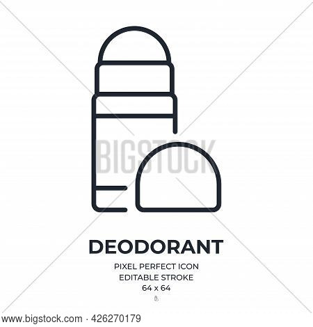 Deodorant Roll-on Editable Stroke Outline Icon Isolated On White Background Flat Vector Illustration