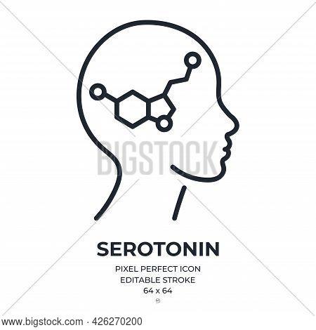 Serotonin Editable Stroke Outline Icon Isolated On White Background Flat Vector Illustration. Pixel