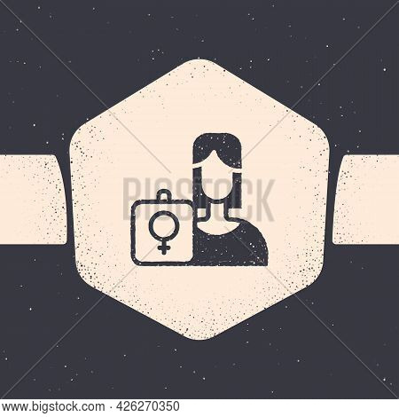Grunge Female Movement, Feminist Activist With Banner And Placards Icon Isolated On Grey Background.