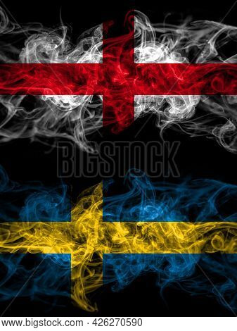 Flag Of England, English And Sweden, Swedish Swede Countries With Smoky Effect